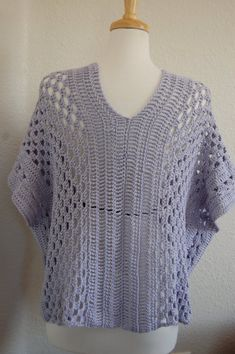 Crochet Tunic Blouse Poncho Wisteria Pima by LoyesThread on Etsy, $80.00