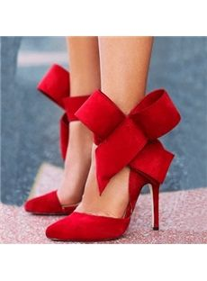 Glaring Red Suede Pointed Toe High Heel Sandals with Amazing Bowtie  #8inchstilettoswithstrap #redheels