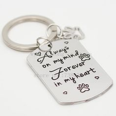 Memorial Keychain Dog Memorial Paw Print In Memory of Pet Memorial Jewelry Pet Memorial Jewelry, Dog Memorial, Cat Puns, Cat Themed Gifts, Pet Urns, Pet Memorials, Animal Jewelry, Necklace Types, Chain Pendants