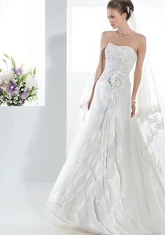Floor Length Sleeveless Organza & Lace A line Scoop Natural Waist Wedding Dress - Angeldress.co.uk