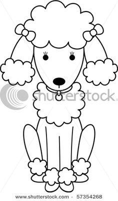 picture of a black and white poodle coloring page in a vector clip art illustration