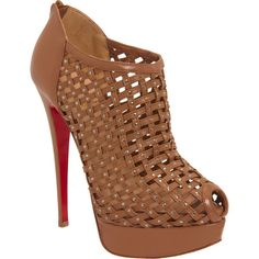 Christian Louboutin Kasha - Camel size 10 (2.455 BRL) ❤ liked on Polyvore featuring shoes, pumps, heels, boots, zapatos, sapatos, footwear, clothing & accessories, women and leather peep toe pumps