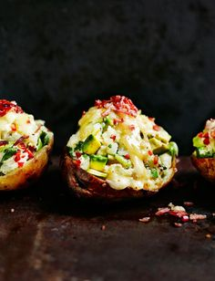Stuff baked potatoes with avocados, soured cream, chilli and coriander then pile high with toppings of your choice - cheese and crispy bacon work wonders Blue Cheese Potato Salad, Waitrose Food, Baked Potato Recipes, Savoury Recipes, Daniel Fast Recipes, Stuffed Baked Potatoes, Baked Avocado, Work Meals, London Food