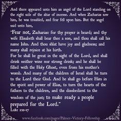 Scripture to prepare your heart for Christmas December 6. Luke 1:11-17