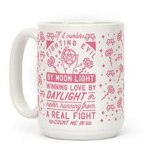 """If It Involves Fighting Evil By Moon Light - Show you're down to be a sailor warrior! This design features illustrations of ribbons, roses, sparkles, a moon locket and the phrase """"If it involves fighting evil by moon light, winning love by daylight, or never running from a real fight, count me in."""""""