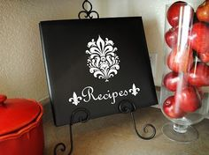 Make recipe scrapbook and showcase on cookbook stand in kitchen...perfect to put all my random recipes together!