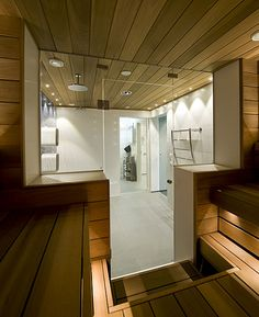 Swimming pool, shower room and sauna divided by glass doors - contemporary - bathroom - other metro - Decom interiors Sauna Shower, Pool Shower, Baths Interior, Spa Interior, Saunas, Steam Room Shower, Piscina Spa, Portable Sauna, Sauna Design