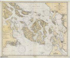 San Juan Islands Historical Map - 1933