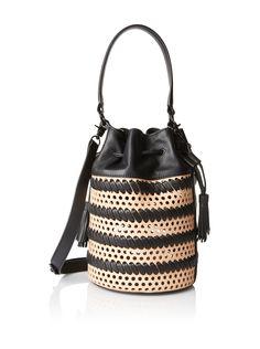 Loeffler Randall Women's Drawstring Bucket Bag, Natural/Black at MYHABIT