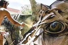 Instead of contemplating a series of sketches or attempting to envision how an artwork will come together, Portuguese artist Bordalo II (previously here and here) begins each of his animal sculptures in a grimy hunt for raw materials in junk yards or abandoned factories. Car bumpers, tires, door pan