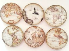 Map Magnets Refrigerator Magnets Glass Magnets by GiftsNThisNThat