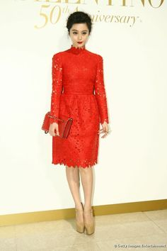Fan Bingbing attends Valentino's 50th Anniversary celebration in dress from the Fall 2012 collection.
