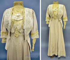"""Ensemble, Berthe May, New York. Skinner calls this """"late 19th century,"""" but the Arts & Crafts bodice plainly says 1910s. Cord and needle lace-embellished dress and jacket of ecru wool and tan velvet. Skinner Auctions"""