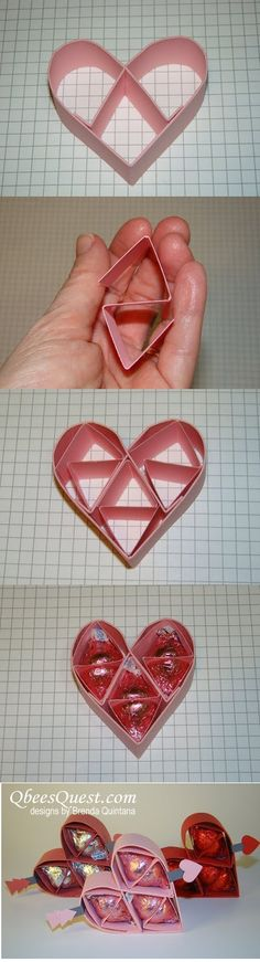 Hershey's Kisses Valentine's Heart Tutorial http://qbeesquest.blogspot.com/2013/01/hersheys-kisses-valentines-heart.html