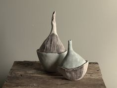 amazing organically shaped Porcelain vase pair  by peifferStudios
