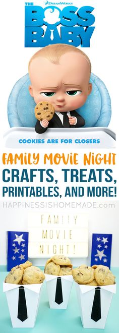 Family Movie Night Fun: The Boss Baby - a cute and crafty treat, a yummy recipe, and some fun printables to make your Family Movie Night a huge success! #LikeABossBaby #ad