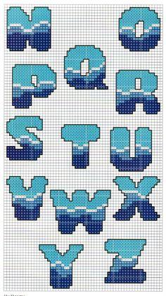 Sea pattern alphabet -- perler beads