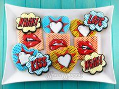 Pop Art Valentine Cookies - Semi Sweet Designs