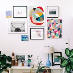 Easy art styling and decor trick - Create a fun and modern feel to your gallery wall by adding bright pops of colors against black and white photography or graphic typography prints.