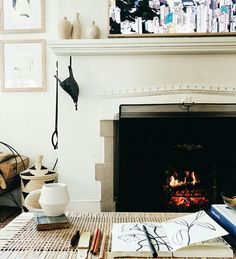 Cozy in front of the fireplace
