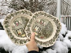Merry Christmas Plates by Johnson Brothers, Made in England, Transferware, Ironstone, Traditional Christmas Scene, Christmas Tree Plates by WeeklyTreasureHunt on Etsy