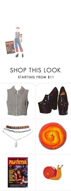 """pulp fiction"" by acid-angels ❤ liked on Polyvore featuring Versace, Jeffrey Campbell, Wet Seal and Penguin Group"