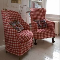 red gingham chairs
