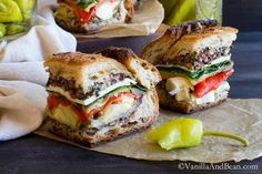 This Vegetarian with Vegan option Italian Pressed Sandwich is an easy and delicious way to feed a crowd. It travels with ease and makes a perfect lunch, picnic or tailgating centerpiece.