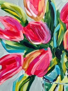 Tolle Ideas for painting easy abstract flowers on canvas with acrylic paint for beginners step by step! — Ideas for painting easy abstract flowers. Easy Flower Painting, Tulip Painting, Acrylic Painting Flowers, Simple Acrylic Paintings, Acrylic Painting Tutorials, Small Paintings, Abstract Flowers, Acrylic Painting Canvas, Art Paintings