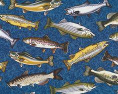 Patchworkstoff+FISHES,+Fische,+gedecktes+blau-senfgelb