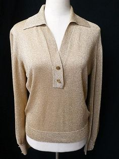 NWOT VTG RUPP & TAURECK COUTURE WEST GERMANY Sz S GOLDEN LUREX EVENING SWEATER #RUPPTAURECK #Collared #Evening