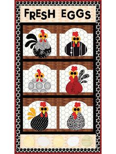 This wall hanging pattern uses easy fusible applique. Bring a chicken coop and their eggs into your home! The appliqued chicken parts are mix and match, providing you with endless combinations. Full sized pattern are included. Finished size 15'x 27'.