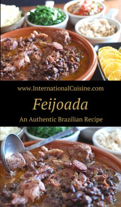 Feijoada is what the national dish of Brazil is called. It is an comforting dish of beans and pork. It is served with several side dishes which is traditional. Get all the recipes and be sure to join the culinary journey around the world when you stop by.