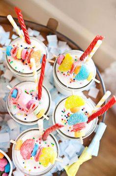 Candy garnish milkshakes. So fun for parties!