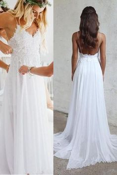 Open Back White Lace Spaghetti Straps Beach Cheap Wedding Dresses Bridal Gowns LD354