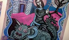 Saint Martha and the legend of the Tarasque Art Icons Saint Martha, Art Icon, Saints, My Arts, Icons, Drawings, Artwork, Painting, Fictional Characters
