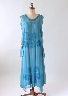 Vintage 1920s Cornflower Blue Tambour Beaded Silk Dress   Raleigh Vintage