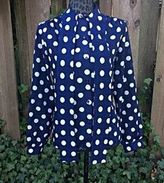 Navy Blue Polka Dot Blouse / Vintage Lee Mar Polka Dot Button Up Shirt / Polka Dot Long Sleeve Shirt with Attached Wrap Scarf