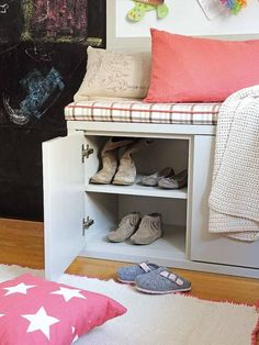 shared bedroom for boy and girl reading corner with storage