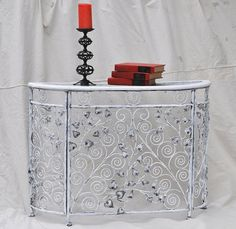 Foyer Hall Table Half Round Metal and Wicker by TheVelvetBranch, $110.00