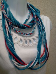 Recycled T Shirt Necklace Tie Dyed by LonestarFashions on Etsy, $15.00