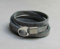 Bracelet en cuir pour hommes, Wrap Bracelet manchette, Bracelet unisexe, réglable au poignet