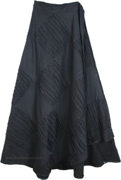 Jersey Cotton Winter Wrap Around Skirt in Mid Night Black with Razor Cut Patchwork Silk Skirt, Cotton Skirt, Hippie Look, Hippie Gypsy, Wrap Around Skirt, Kinds Of Fabric, Solid Black, Skirt Fashion, Wrap Style