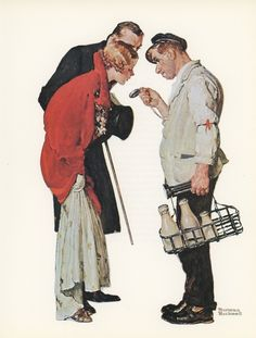 Norman Rockwell, The Milkman And The Young Couple All Dressed Up, Post Magazine Cover, Made In Usa, America's Painter, Represents The Family Of 50's 60's 70's, Vintage Print