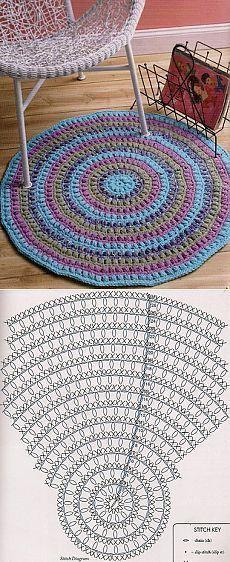 Amo tapetes desse modelo e nes Crochet Mat, Crochet Rug Patterns, Crochet Carpet, Crochet Pillow Pattern, Crochet Diagram, Crochet Home, Crochet Crafts, Crochet Doilies, Crochet Projects