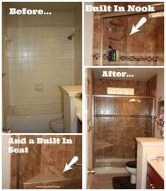 Check out the transformation of our bathroom remodel tub to shower project idea! I wouldn't have changed a thing that we did! Money Saving Tips included!