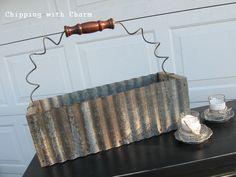 Chipping with Charm: Junk Friends.getting ready for JunkMarket Under Glass. Corregated Metal, Corrugated Tin, Barn Tin, Barn Wood, Metal Projects, Metal Crafts, Diy Projects, Metal Garden Art, Metal Art
