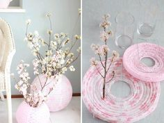 Creative Ideas to recycle paper lanterns …If recycling is your thing … DIY Chinese lantern is one of Paper Lantern Centerpieces, Paper Lanterns, Ideas Lanterns, Chinese New Year Decorations, New Years Decorations, Cherry Blossom Party, Cherry Blossoms, Japanese Party, Japanese Theme Parties
