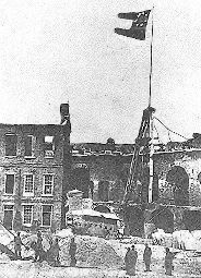Confederate Flag flying in Fort Sumter after the 1861 surrender