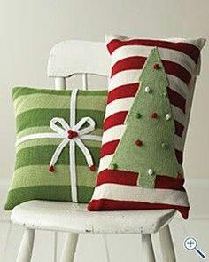 christmas crafts~~don't want to store holiday pillows? Make slip covers for pillows you own! (This is so obvious it's making me laugh! Christmas Sewing, Primitive Christmas, Noel Christmas, Winter Christmas, Christmas Ornaments, Whimsical Christmas, Burlap Christmas, Family Christmas, Christmas Time Is Here